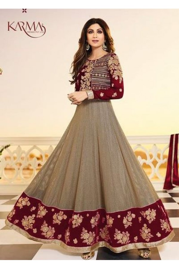 Shilpa Shetty Traditional Grey & Red Anarkali Suit - 5405-D