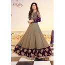 Shilpa Shetty Wedding Wear Grey & Violet Anarkali Suit - 5405