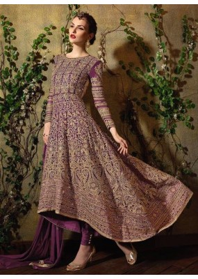 Bridal Violet Georgette Embroidered Anarkali Suit - 8105-A