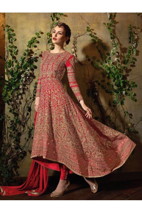 Traditional Red Georgette Embroidered Anarkali Suit - 8105-C