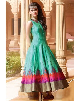Traditional Sea Green Art Silk Embroidery Gown - 103