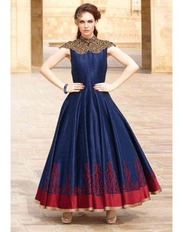 Party Wear Navy Blue Art Silk Embroidery Gown - 104