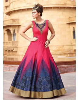 Festival Wear Pink Art Silk Gown - 105