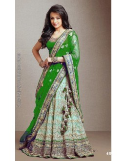 Bollywood Replica -  Traditional Green Net Lehenga  - 1018-K