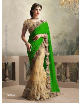 Festival Wear Green & Cream Saree  - 1125-E