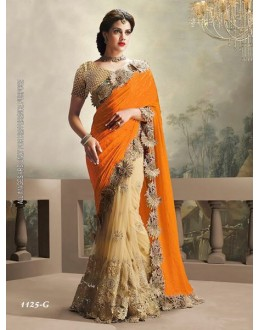 Ethnic Wear Orange & Cream Saree  - 1125-G