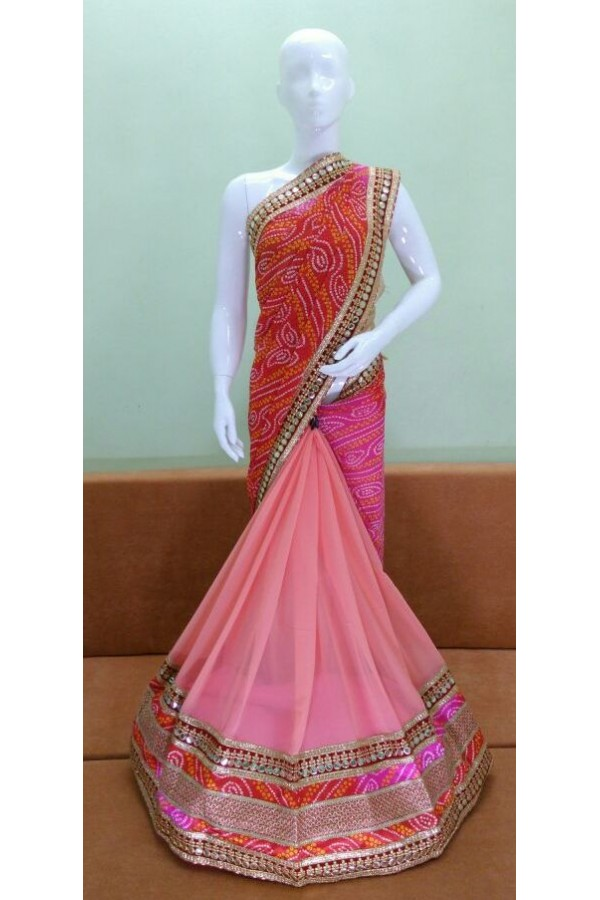 Party Wear Multicolour Georgette Saree - 1023-03