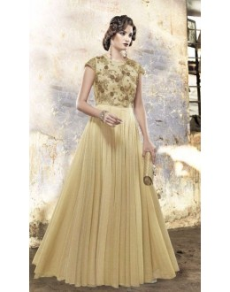 Fancy Cream Silk Embroidered Gown - 6660