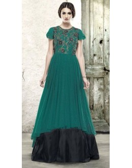 Designer Green Net Embroidered Gown - 6662