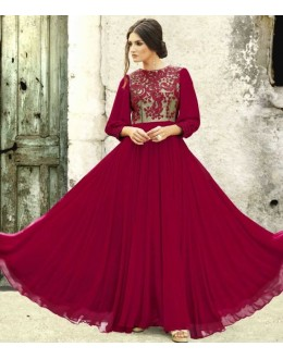 Fancy Magenta Georgette Embroidered Gown - 6665