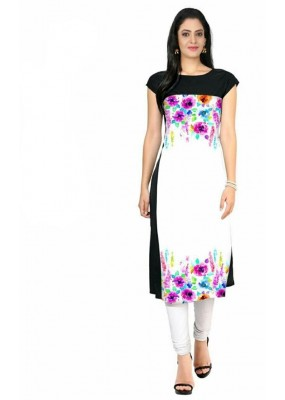 Fancy Readymade Black & White Crape Kurti - 110