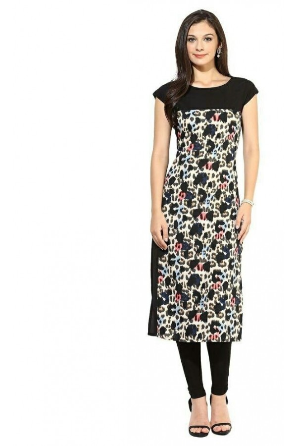 Office Wear Readymade Black Crape Kurti - 111