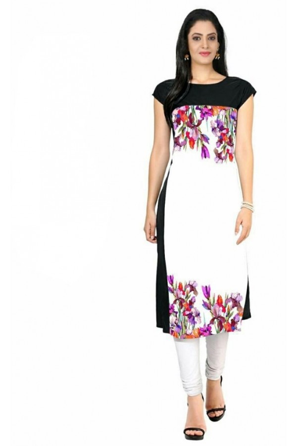 Office Wear Readymade Black & White Crape Kurti - 112