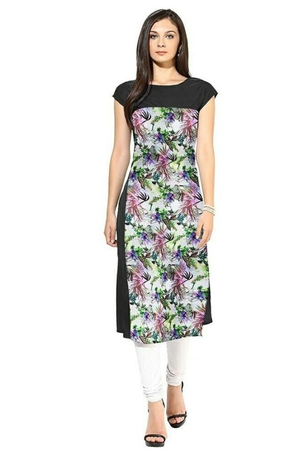 Party Wear Readymade Black Crape Kurti - 104