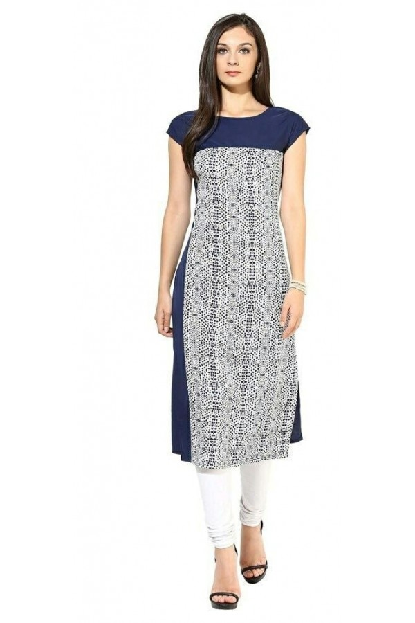 Office Wear Readymade Blue Crape Kurti - 106