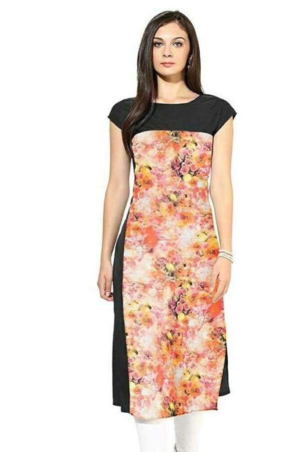 Office Wear Readymade Black & Pink Crape Kurti - 109