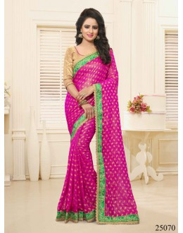 Festival Wear Pink Georgette Saree  - 25070