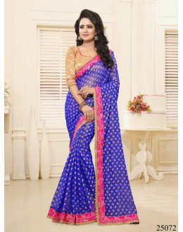 Festival Wear Blue Georgette Saree  - 25072