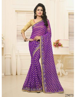 Party Wear Purple Georgette Saree  - 25073