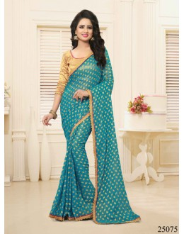 Casual Wear Rama Green Georgette Saree  - 25075