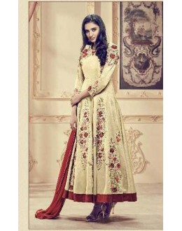 Festival Wear Cream Faux Georgette Anarkali Suit - 1009
