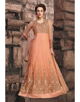 Designer Peach Net Anarkali Suit - 10004