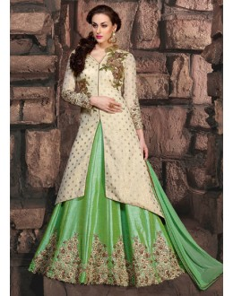 Festival Wear Cream & Green Pure Silk Anarkali Suit - 10005