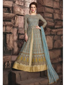 Party Wear Bluish Grey Net Lehenga Suit - 10006
