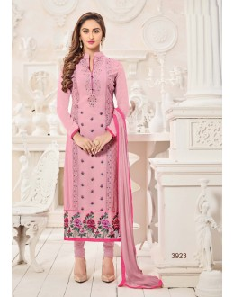 Ethnic Wear Pink Semi Georgette Salwar Suit  - 3923
