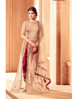 Ethnic Wear Beige Net Slit Salwar Suit - 4502