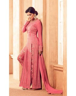 Festival Wear Peach Satin Slit Salwar Suit - 4505
