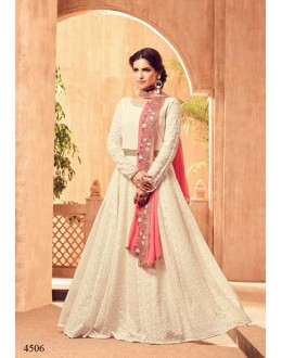 Party Wear Off White Georgette Anarkali Suit - 4506