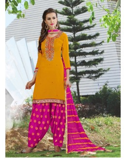 Ethnic Wear Yellow Cotton Patiyala Suit - 116