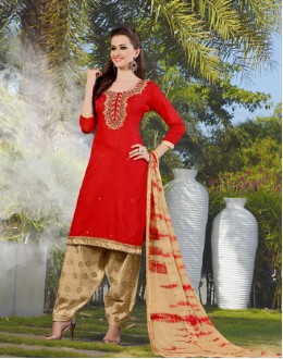 Party Wear Red Cotton Patiyala Suit - 117