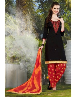 Office Wear Black Cotton Patiyala Suit - 119