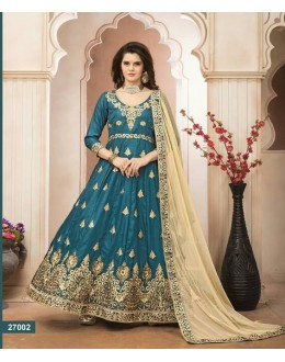 Party Wear Rama Green Banglori Silk Anarkali Suit - 27002
