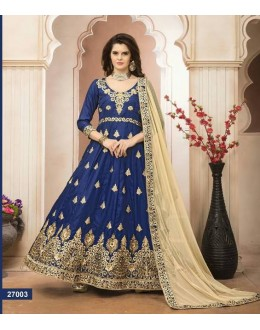 Festival Wear Blue Banglori Silk Anarkali Suit - 27003