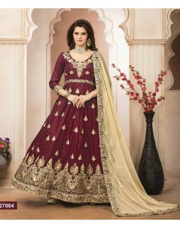 Wedding Wear Maroon Banglori Silk Anarkali Suit - 27004