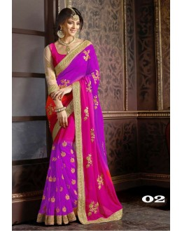 Party Wear Purple Georgette Saree  - 1086-02