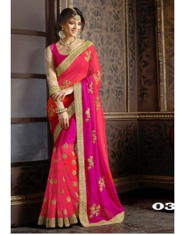 Festival Wear Peach Georgette Saree  - 1086-03