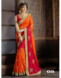 Party Wear Orange & Red Georgette Saree  - 1086-05