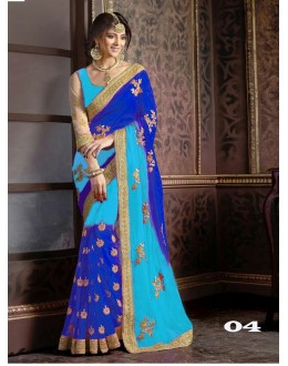 Ethnic Wear Blue Georgette Saree  - 1086-04