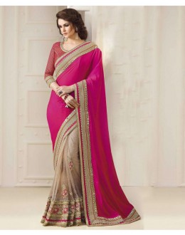 Bollywood Inspired - Ethnic Wear Pink & Beige Saree  - 1552