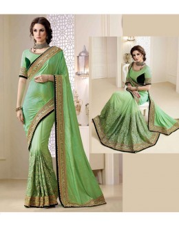 Bollywood Inspired - Party Wear Green Saree  - 1553