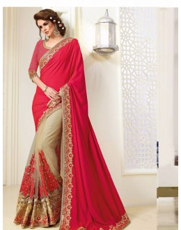 Bollywood Inspired - Party Wear Red & Beige Saree  - 1563