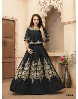 Ethnic Wear Black Taffeta Silk Anarkali Suit - 28001