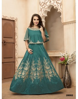 Party Wear Aqua Green Taffeta Silk Anarkali Suit - 28002