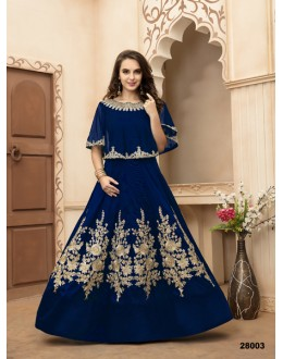 Wedding Wear Royal Blue Taffeta Silk Anarkali Suit - 28003