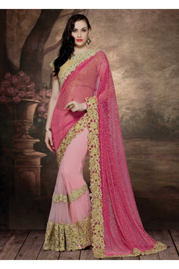 Party Wear Pink & Beige Net Embroidered Saree  - 4012