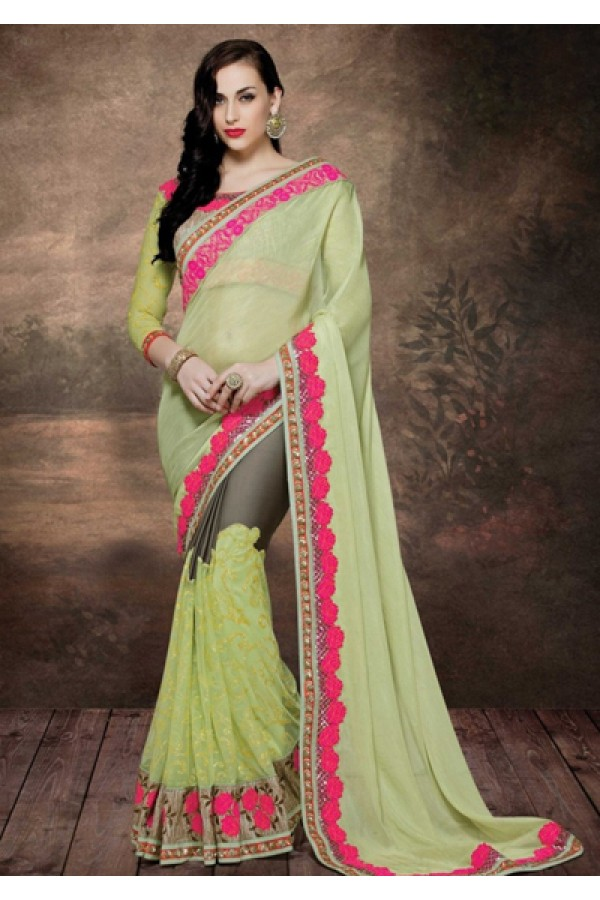 Ethnic Wear Green & Brown Net Embroidered Saree  - 4016
